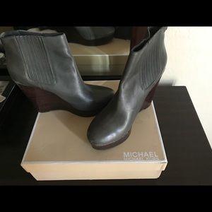 Michael Kors Gray Wedge Booties 11